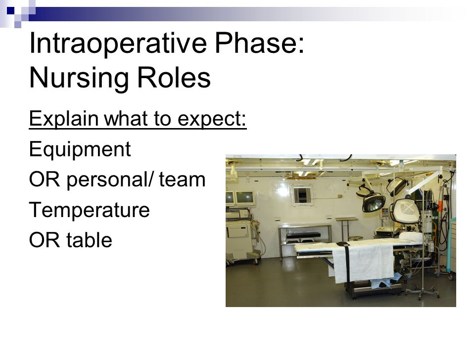 Intraoperative Phase: Nursing Roles