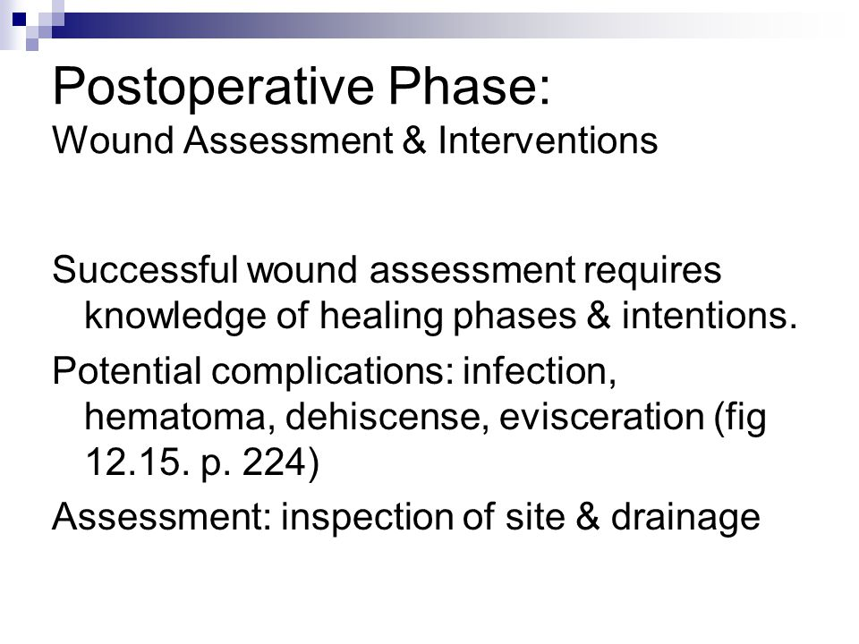 Postoperative Phase: Wound Assessment & Interventions