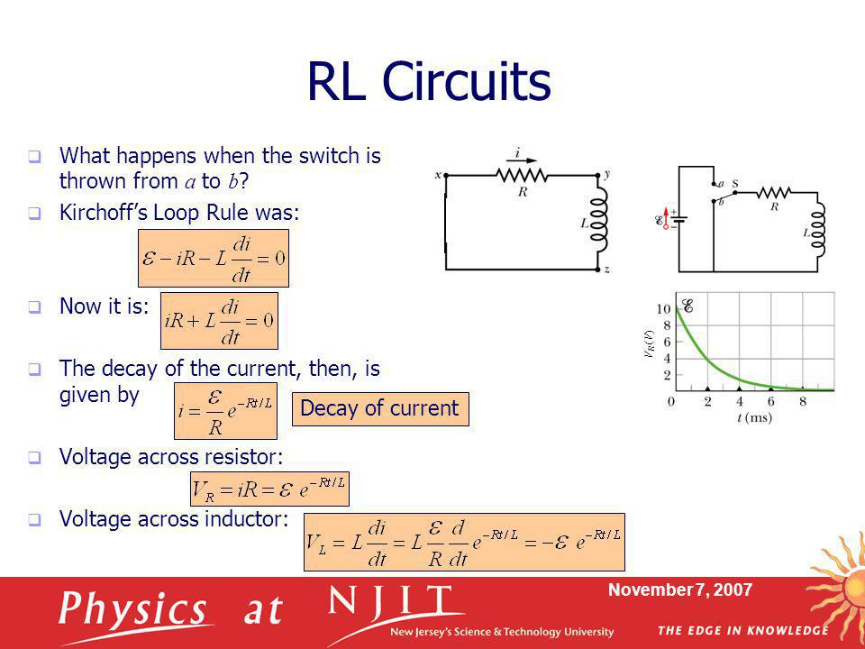 RL Circuits What happens when the switch is thrown from a to b