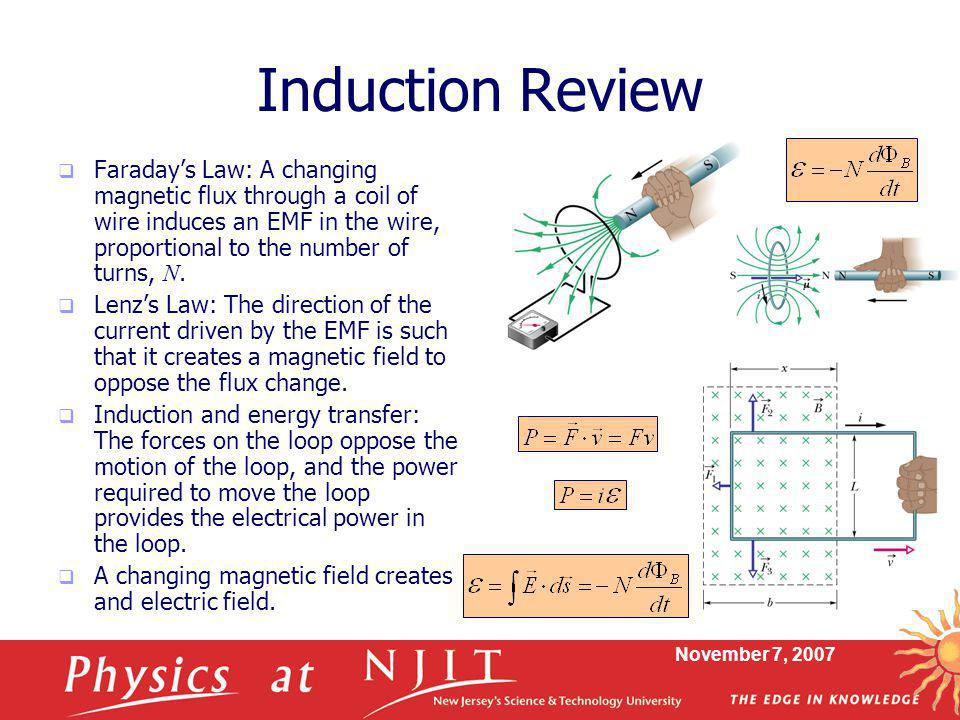 Induction Review Faraday's Law: A changing magnetic flux through a coil of wire induces an EMF in the wire, proportional to the number of turns, N.