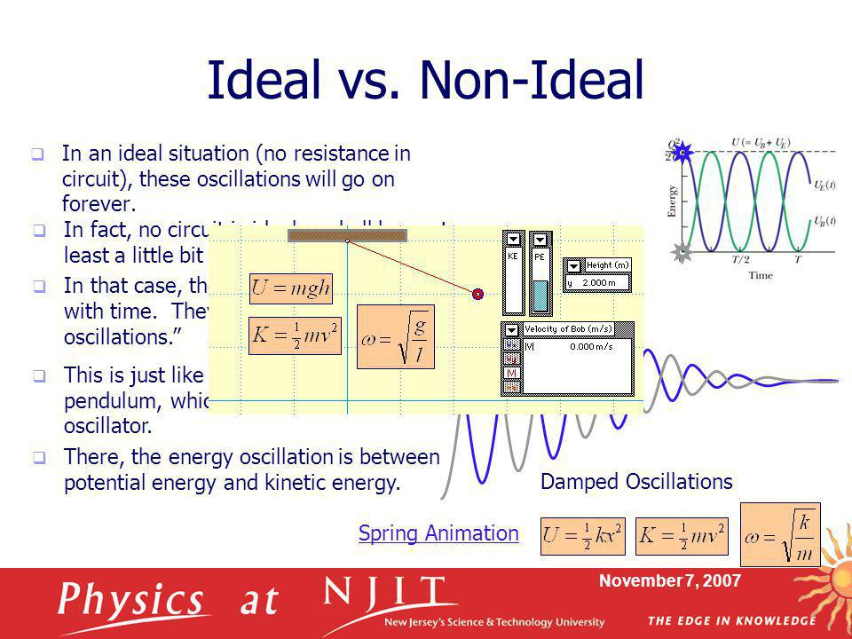 Ideal vs. Non-Ideal In an ideal situation (no resistance in circuit), these oscillations will go on forever.