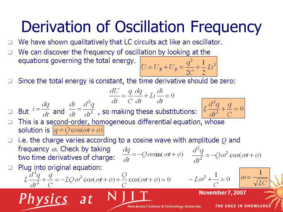Derivation of Oscillation Frequency