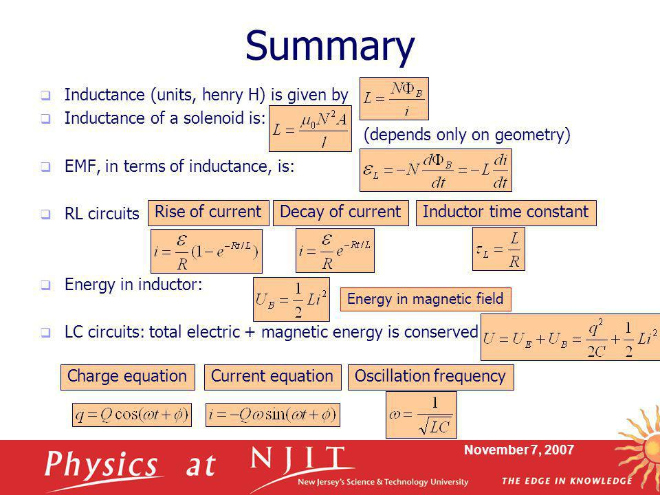 Summary Inductance (units, henry H) is given by