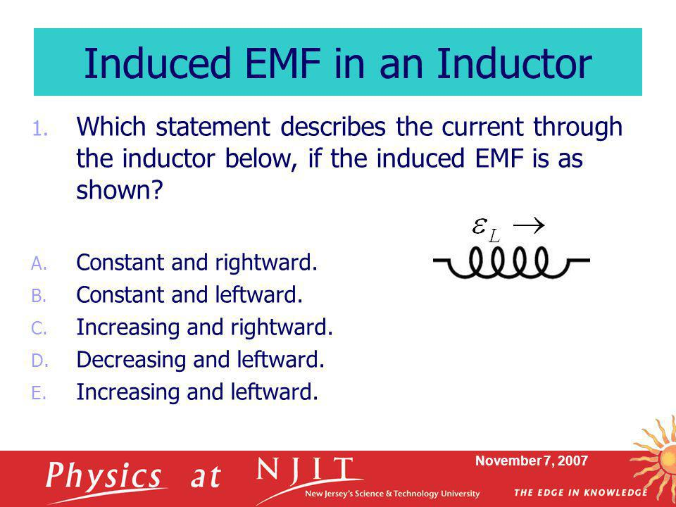 Induced EMF in an Inductor