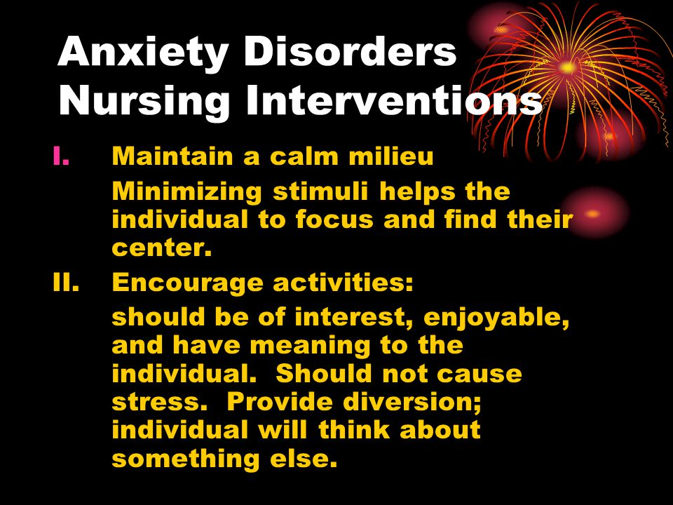 Anxiety Disorders Nursing Interventions