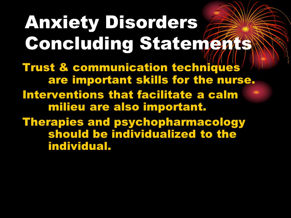 Anxiety Disorders Concluding Statements