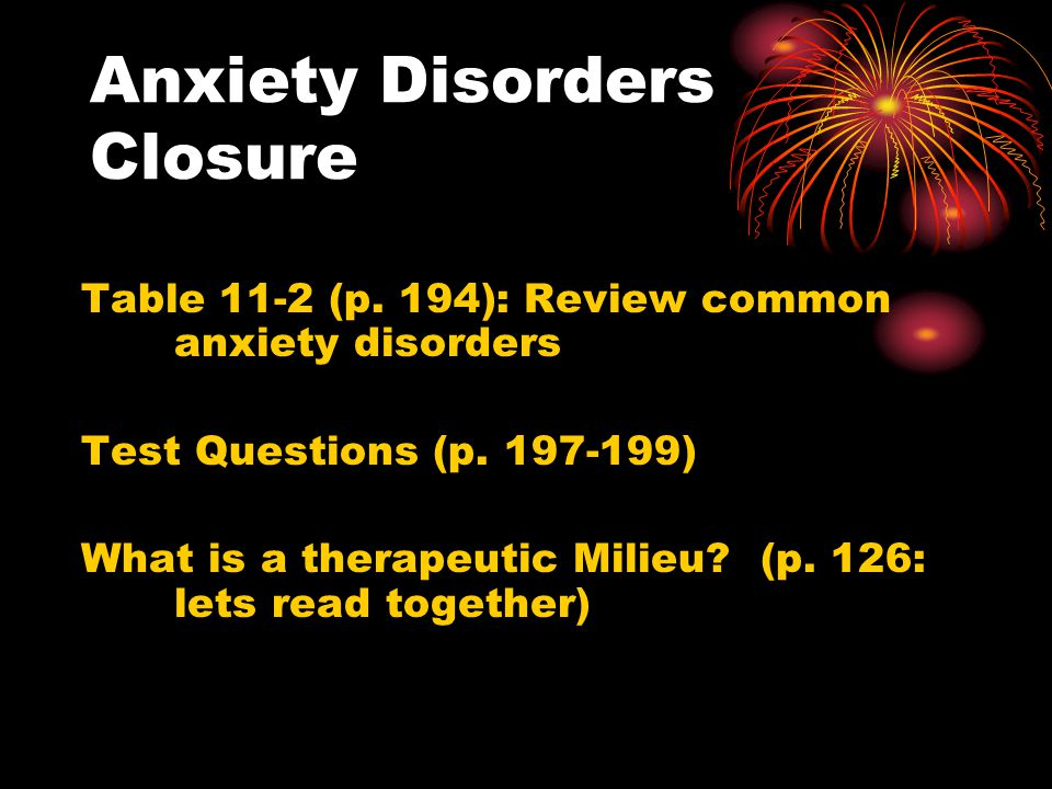 Anxiety Disorders Closure