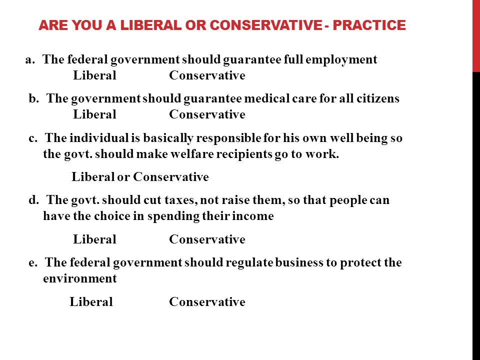 Are You a liberal or Conservative - practice