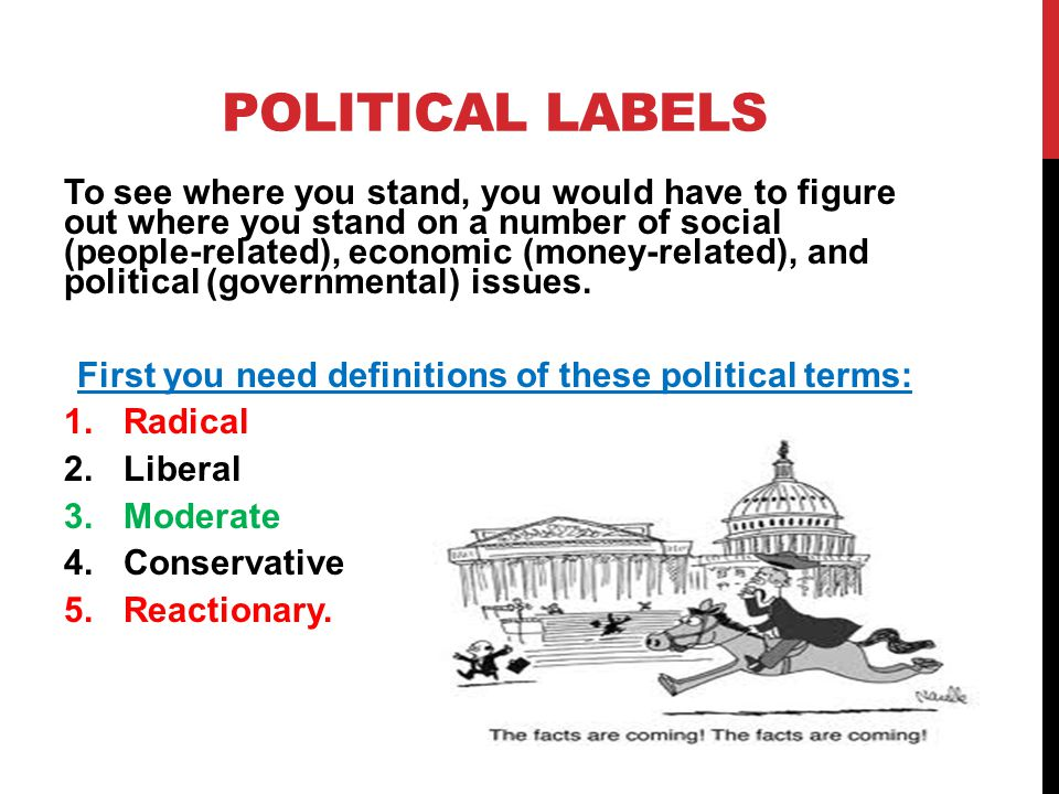 First you need definitions of these political terms: