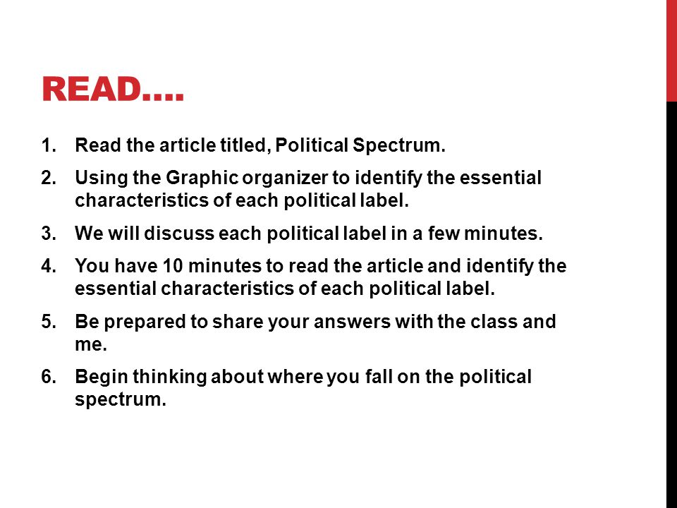 Read…. Read the article titled, Political Spectrum.