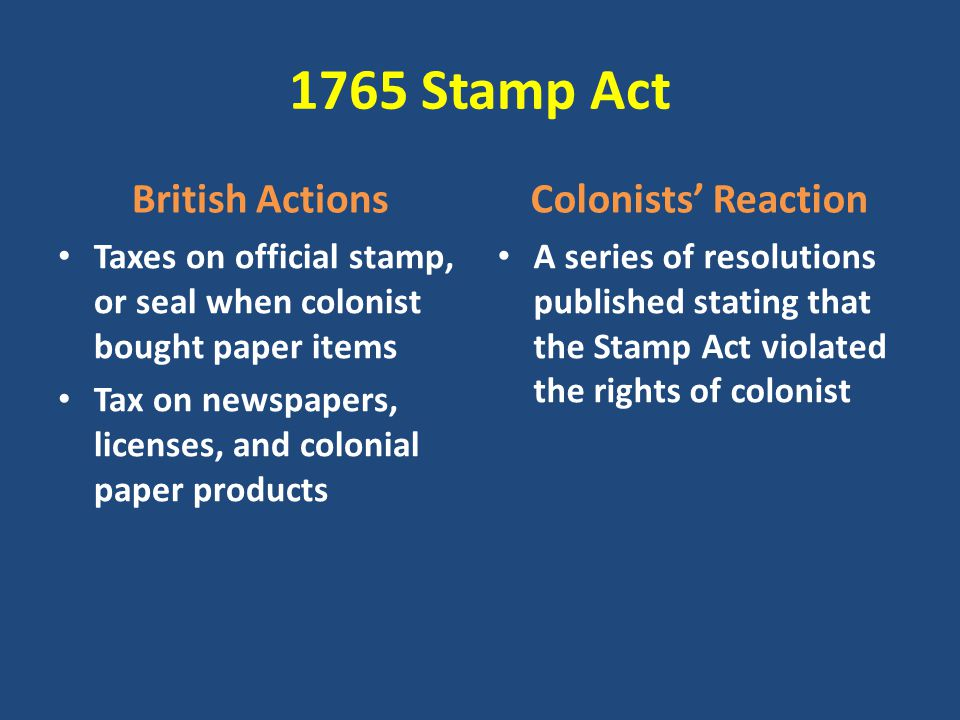 1765 Stamp Act British Actions Colonists' Reaction