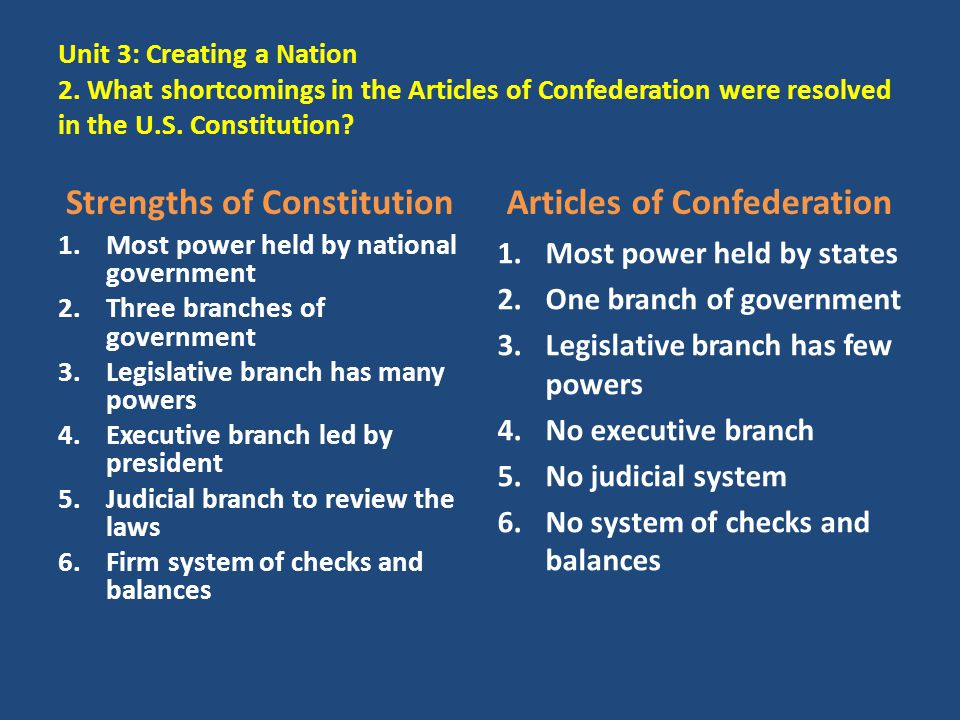 Strengths of Constitution Articles of Confederation