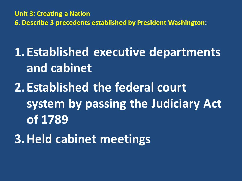 Established executive departments and cabinet
