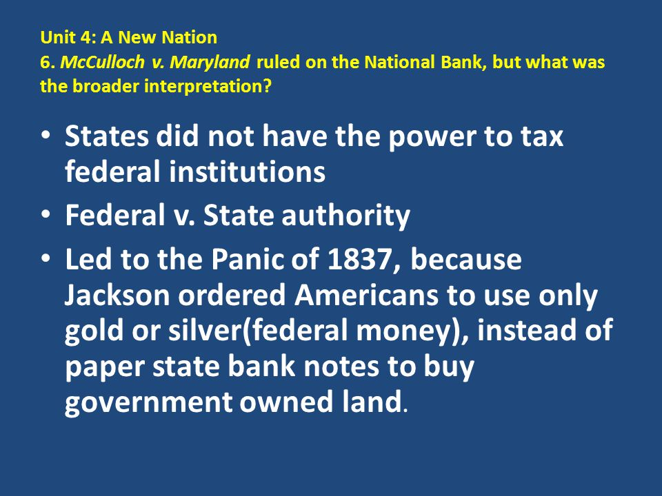 States did not have the power to tax federal institutions