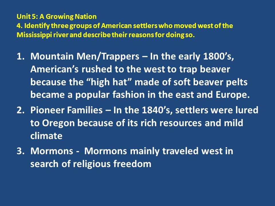 Mormons - Mormons mainly traveled west in search of religious freedom