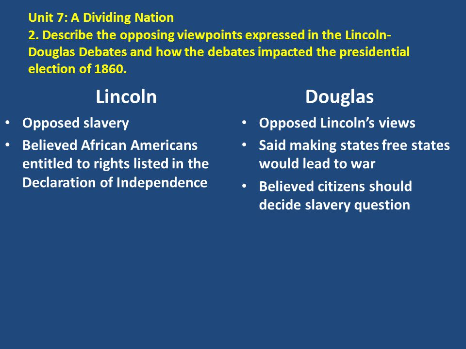 Lincoln Douglas Opposed slavery