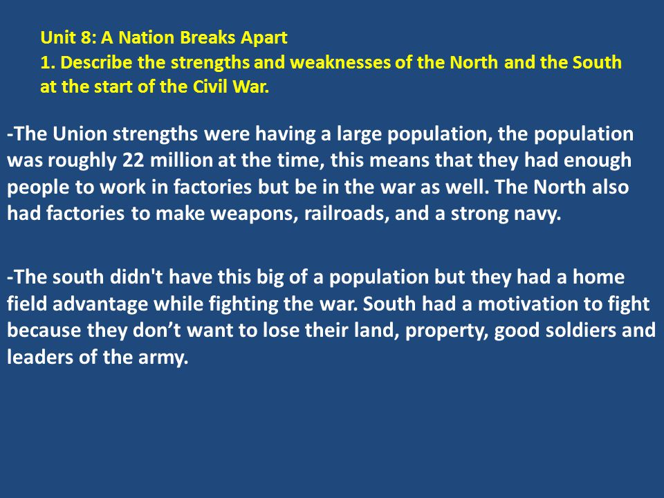 Unit 8: A Nation Breaks Apart 1