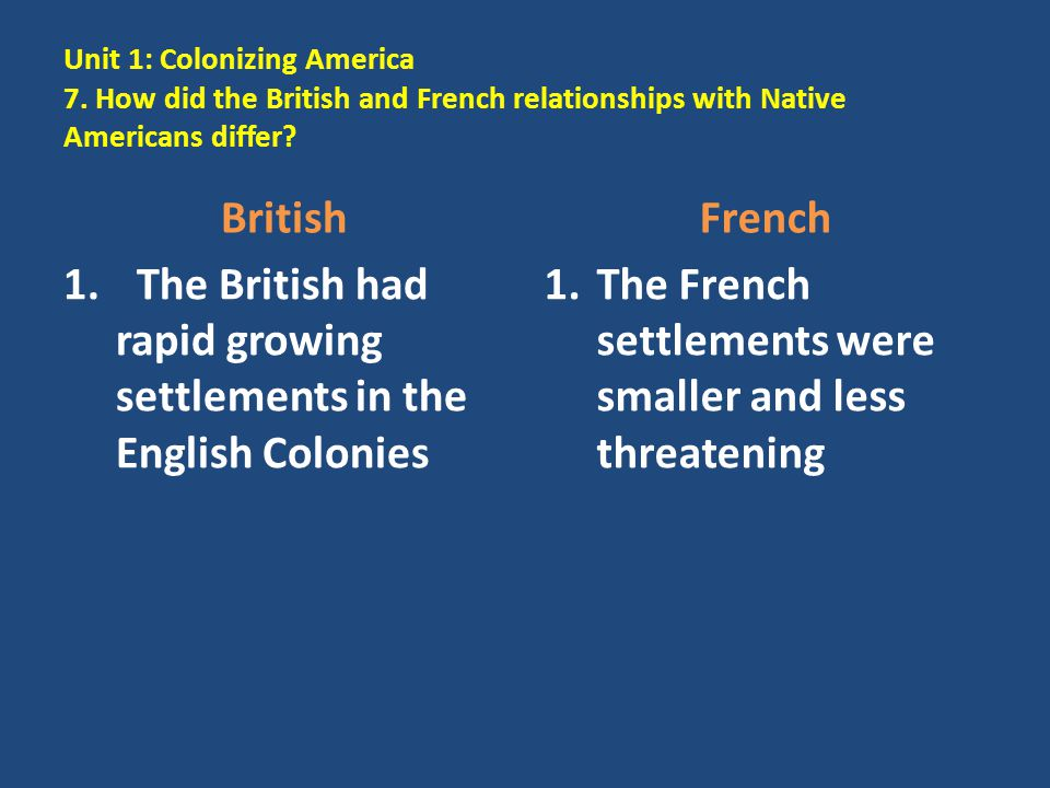 The British had rapid growing settlements in the English Colonies