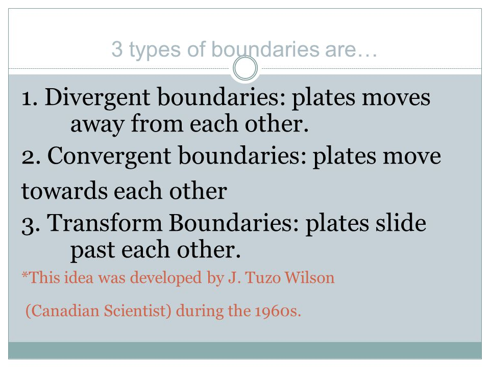 1. Divergent boundaries: plates moves away from each other.