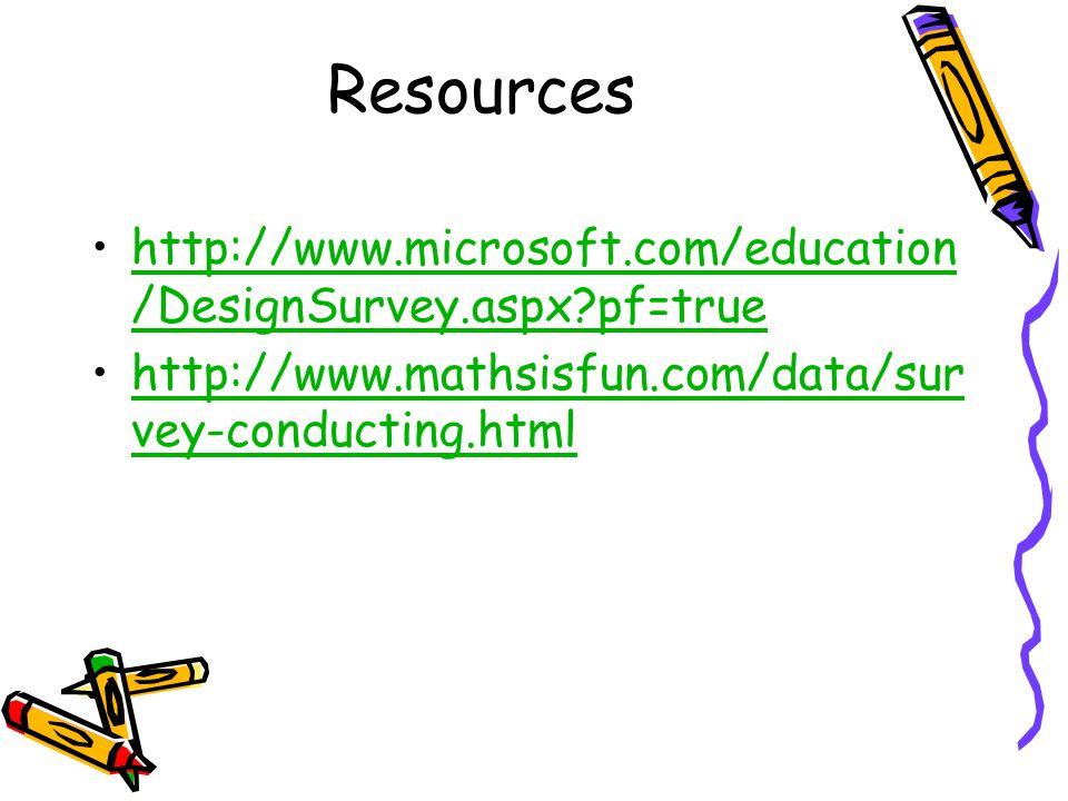 Resources http://www.microsoft.com/education/DesignSurvey.aspx pf=true