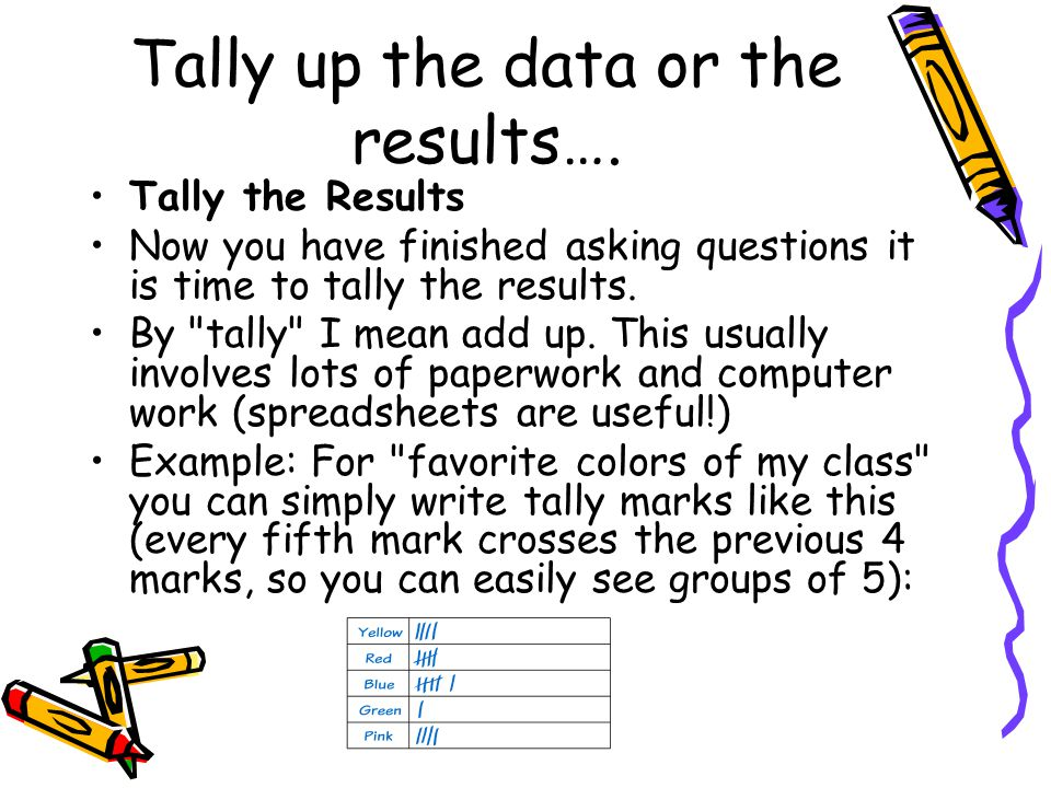Tally up the data or the results….