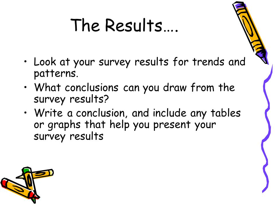 The Results…. Look at your survey results for trends and patterns.