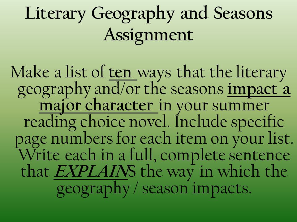 Literary Geography and Seasons Assignment