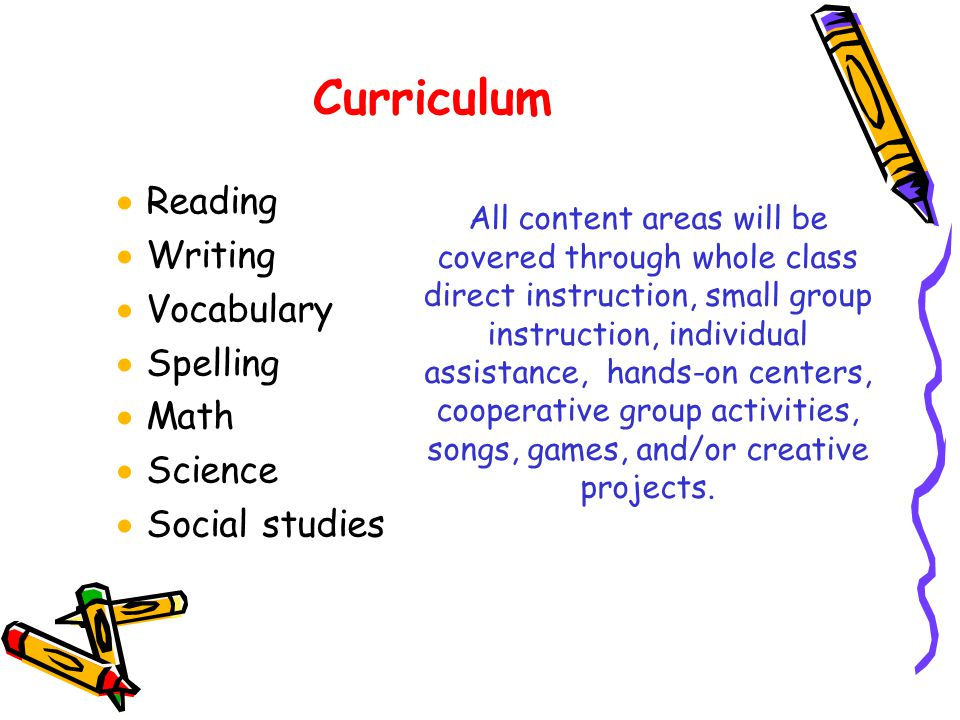 Curriculum Reading Writing Vocabulary Spelling Math Science