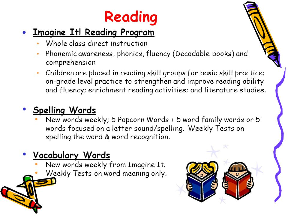 Reading Imagine It! Reading Program Spelling Words Vocabulary Words