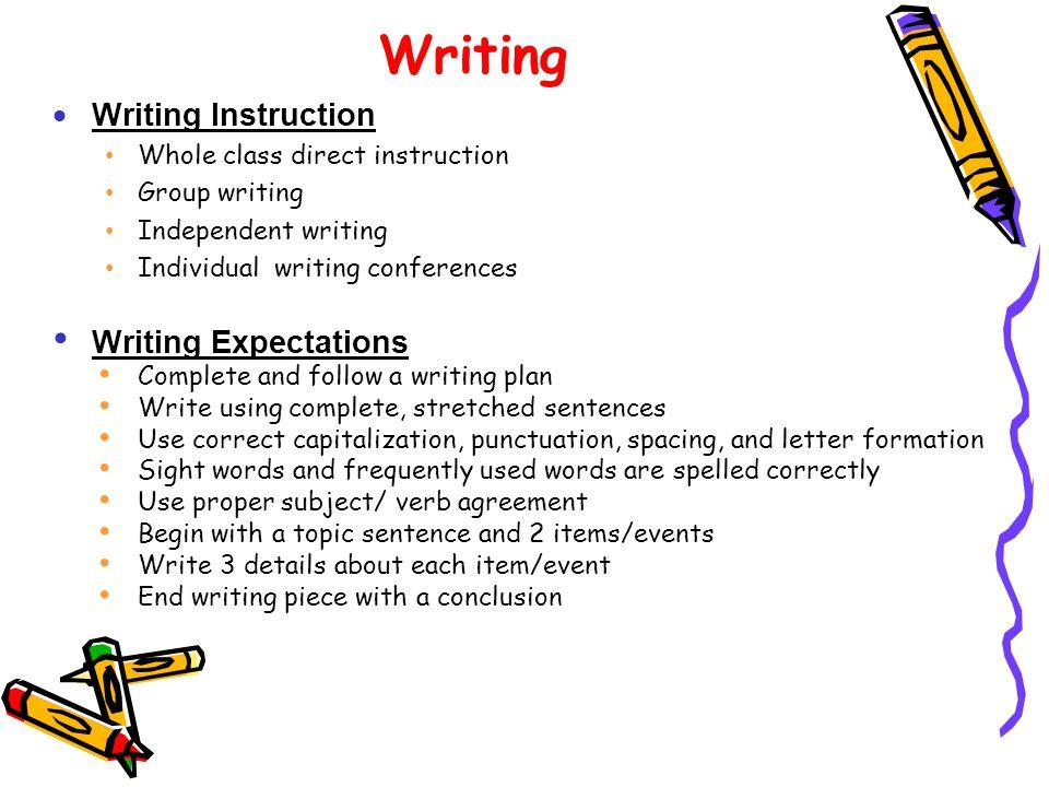 Writing Writing Instruction Writing Expectations
