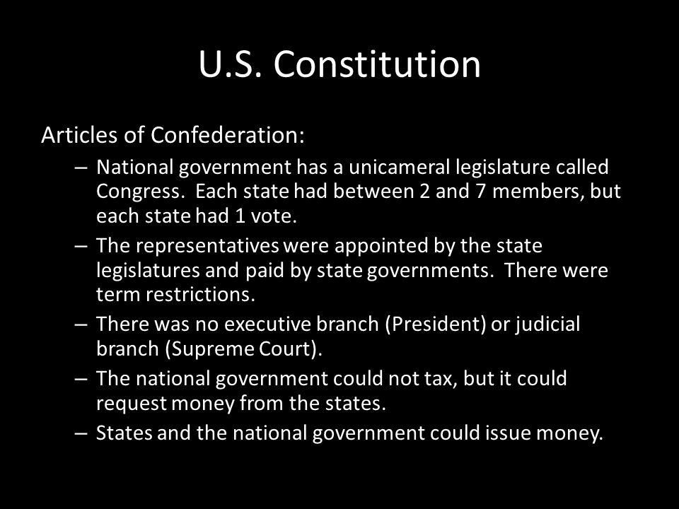U.S. Constitution Articles of Confederation: