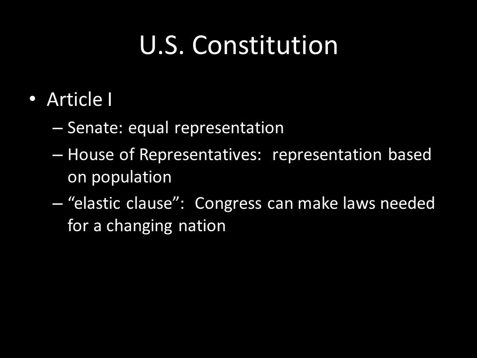 U.S. Constitution Article I Senate: equal representation