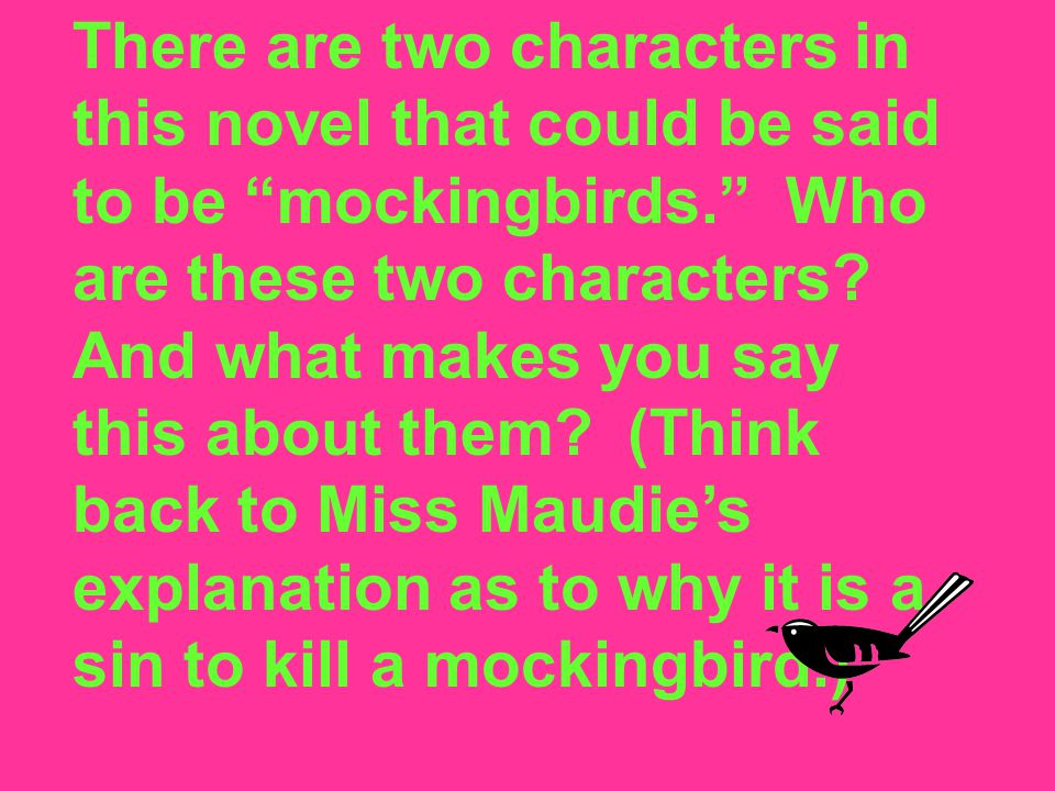 There are two characters in this novel that could be said to be mockingbirds. Who are these two characters.