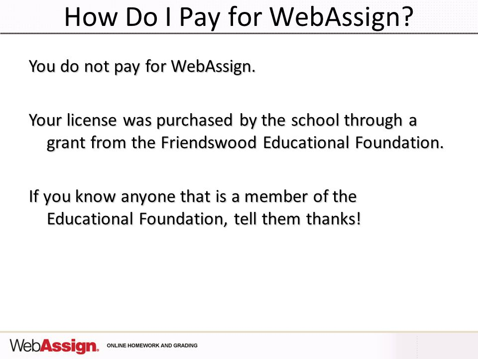 How Do I Pay for WebAssign