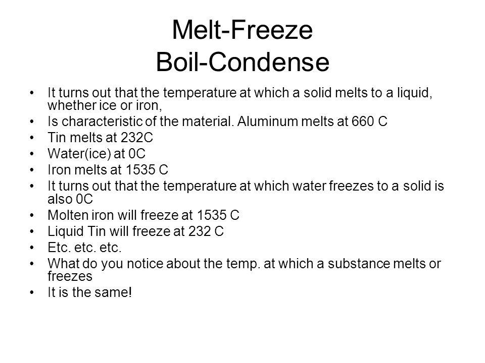 Melt-Freeze Boil-Condense