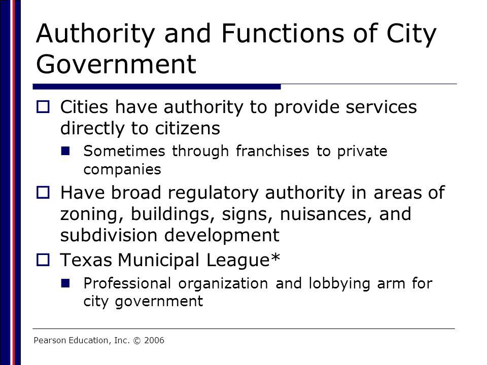 Authority and Functions of City Government