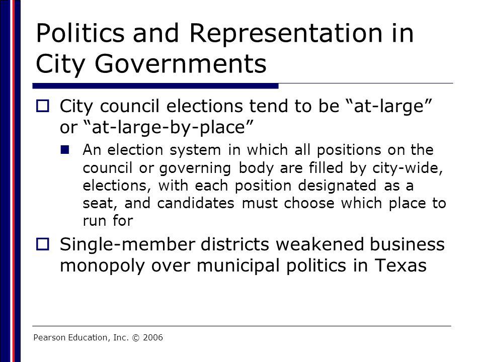 Politics and Representation in City Governments