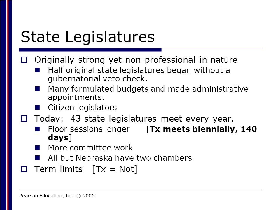 State Legislatures Originally strong yet non-professional in nature