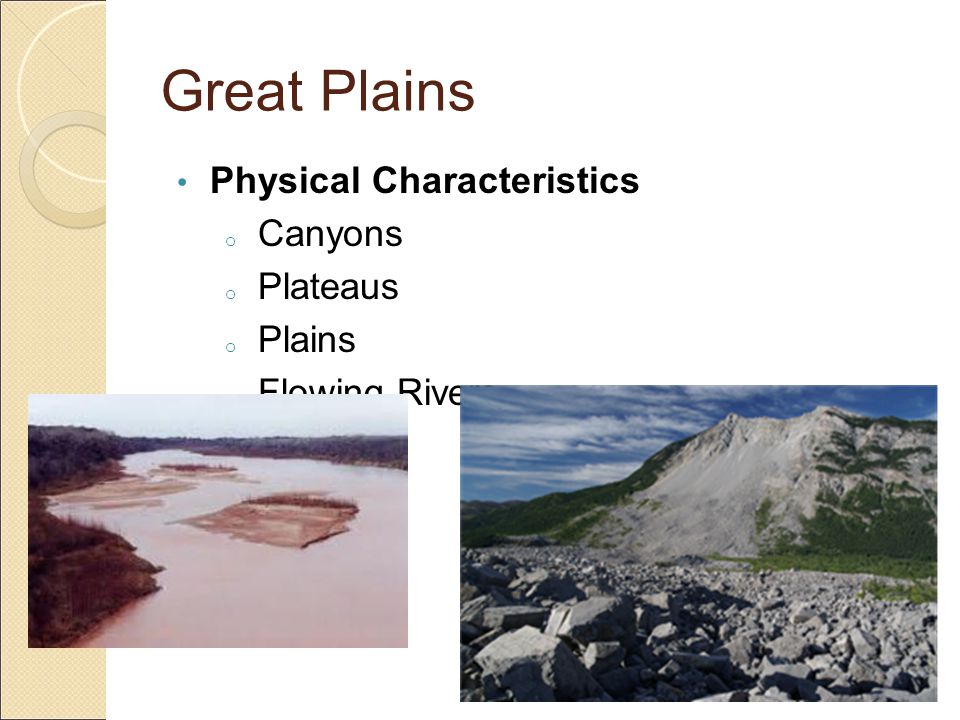 Great Plains Physical Characteristics Canyons Plateaus Plains