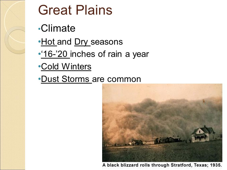 Great Plains Climate Hot and Dry seasons '16-'20 inches of rain a year