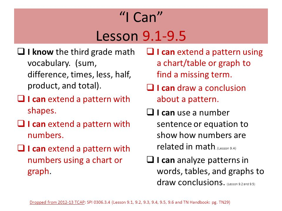 I Can Lesson 9.1-9.5 I know the third grade math vocabulary. (sum, difference, times, less, half, product, and total).