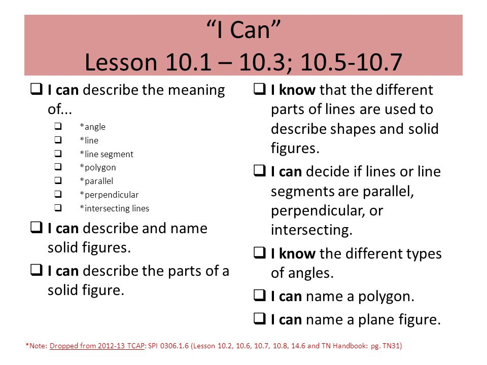 I Can Lesson 10.1 – 10.3; 10.5-10.7 I can describe the meaning of...