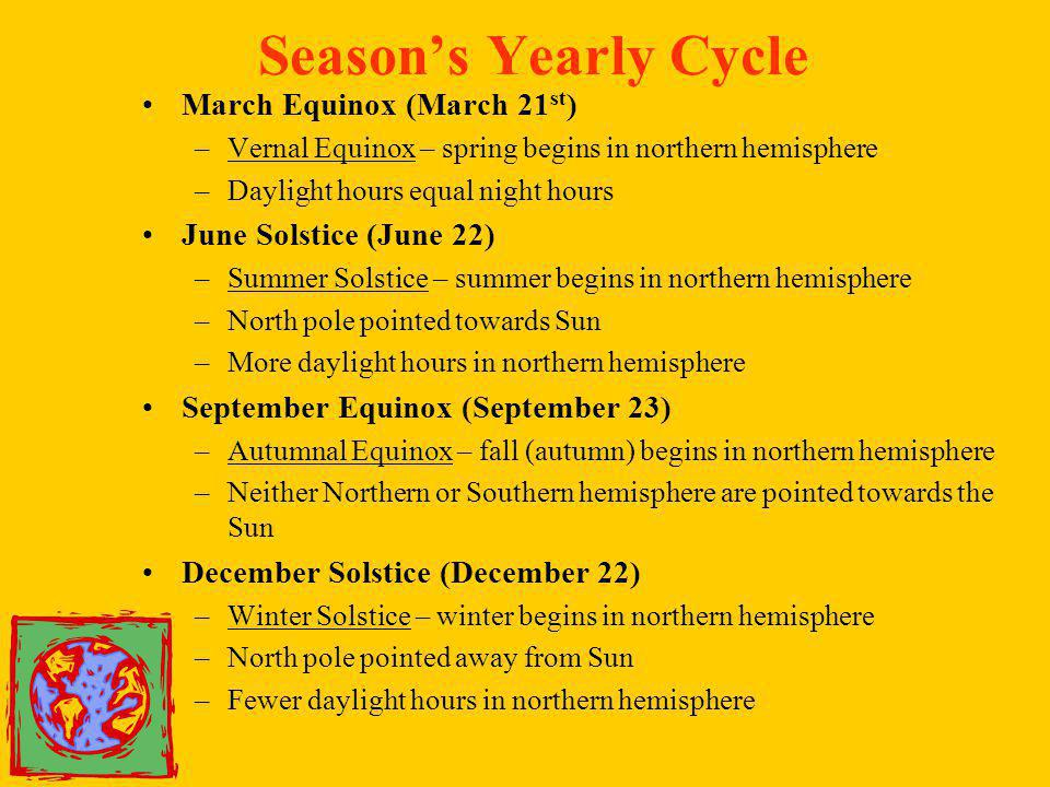 Season's Yearly Cycle March Equinox (March 21st)