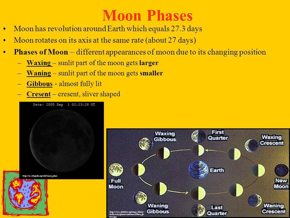 Moon Phases Moon has revolution around Earth which equals 27.3 days