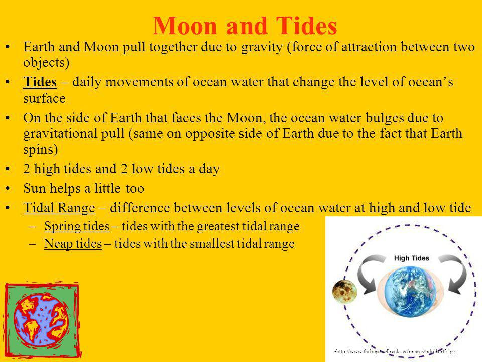 Moon and Tides Earth and Moon pull together due to gravity (force of attraction between two objects)