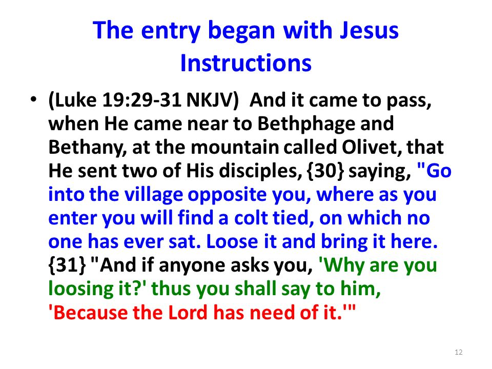 The entry began with Jesus Instructions