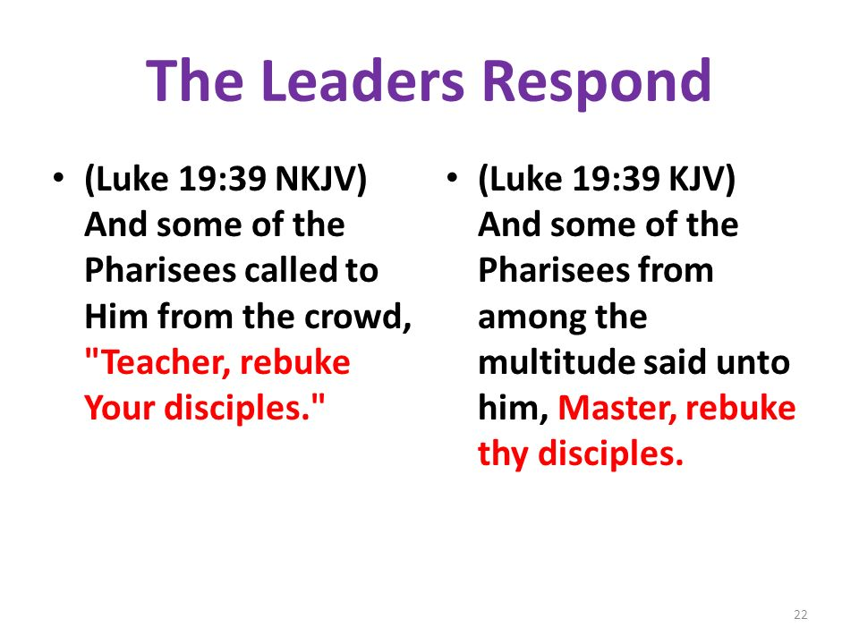 The Leaders Respond (Luke 19:39 NKJV) And some of the Pharisees called to Him from the crowd, Teacher, rebuke Your disciples.