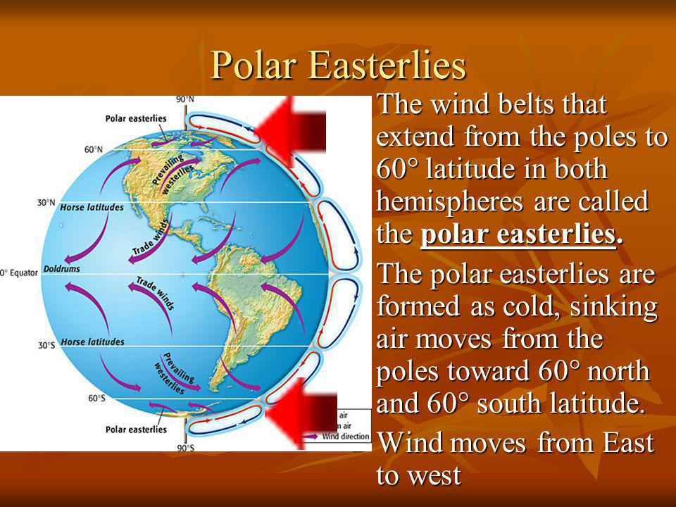 Polar Easterlies The wind belts that extend from the poles to 60° latitude in both hemispheres are called the polar easterlies.