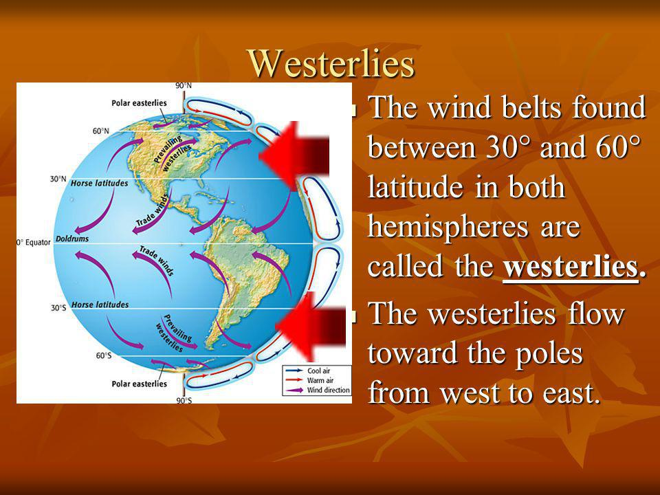 Westerlies The wind belts found between 30° and 60° latitude in both hemispheres are called the westerlies.