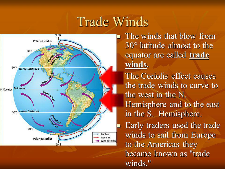 Trade Winds The winds that blow from 30° latitude almost to the equator are called trade winds.